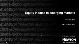 Equity income in emerging markets