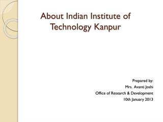 About Indian Institute of Technology Kanpur