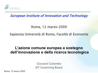 Giovanni Colombo EIT Governing Board
