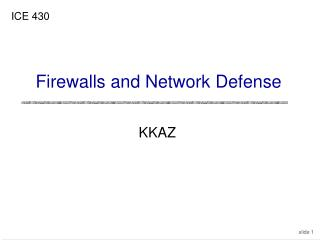 Firewalls and Network Defense