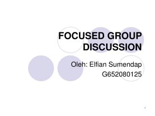 FOCUSED GROUP DISCUSSION