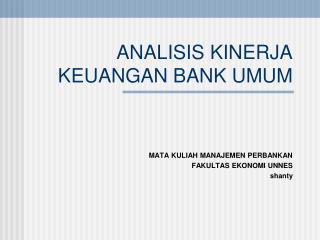 ANALISIS KINERJA KEUANGAN BANK UMUM