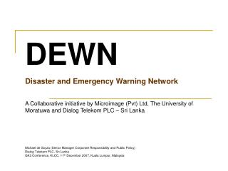 DEWN Disaster and Emergency Warning Network