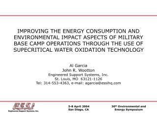 IMPROVING THE ENERGY CONSUMPTION AND ENVIRONMENTAL IMPACT ASPECTS OF MILITARY BASE CAMP OPERATIONS THROUGH THE USE OF SU