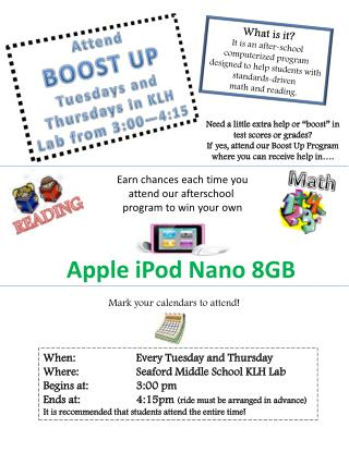 Attend BOOST  UP Tuesdays and  T hursdays in KLH Lab from 3:00—4:15
