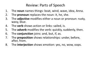 Parts of the Sentence Test Review subjects and predicates