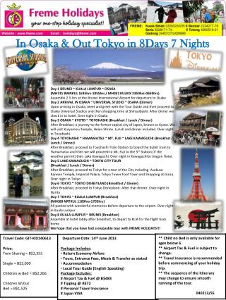 In Osaka & Out Tokyo in 8Days 7 Nights