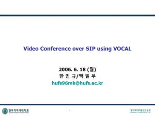 Video Conference over SIP using VOCAL