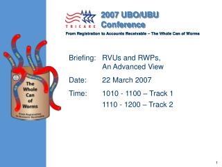 Briefing:   RVUs and RWPs, 	An Advanced View Date:	22 March 2007 Time:	1010 - 1100 – Track 1 	1110 - 1200 – Track 2