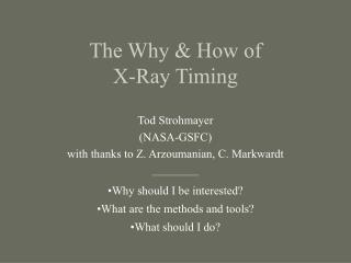 The Why & How of  X-Ray Timing