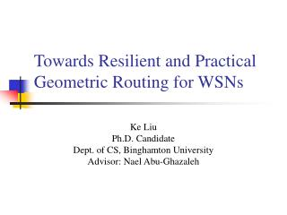 Towards Resilient and Practical Geometric Routing for WSNs