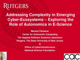 Addressing Complexity in Emerging Cyber-Ecosystems – Exploring the Role of Autonomics in E-Science