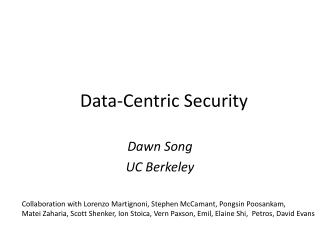 Data-Centric Security