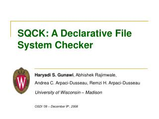 SQCK: A Declarative File System Checker