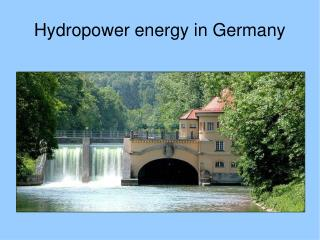 Hydropower energy in Germany