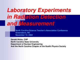 Laboratory Experiments in Radiation Detection and Measurement