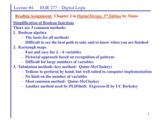 Simplification of Boolean functions There are 3 common methods: 1.  Boolean algebra