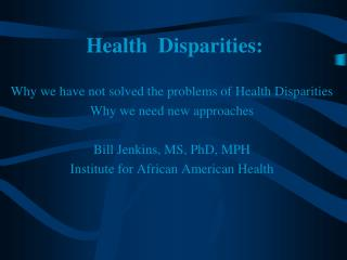 Health  Disparities: