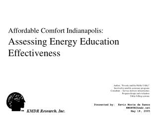 Affordable Comfort Indianapolis: Assessing Energy Education Effectiveness