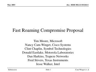 Fast Roaming Compromise Proposal