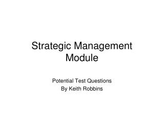 Strategic Management Module