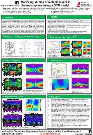 Modelling studies of metallic layers in the mesosphere using a GCM model