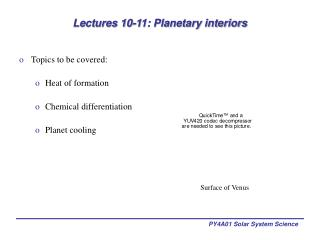 Lectures 10-11: Planetary interiors