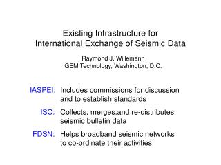 Existing Infrastructure for  International Exchange of Seismic Data