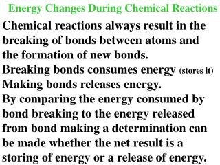 Energy Changes During Chemical Reactions