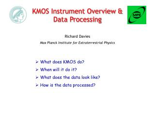 KMOS Instrument Overview & Data Processing