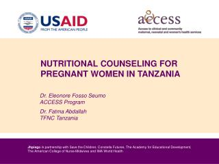 NUTRITIONAL COUNSELING FOR PREGNANT WOMEN IN TANZANIA