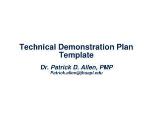Technical Demonstration Plan Template