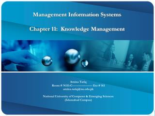 Management Information Systems Chapter 11:  Knowledge Management