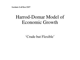 Harrod-Domar Model of Economic Growth