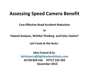 Assessing Speed Camera Benefit  Cost-Effective Road Accident Reduction or