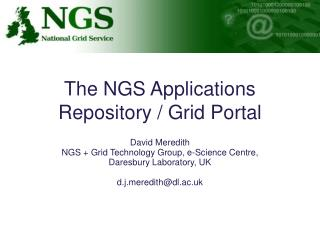 The NGS Applications Repository / Grid Portal