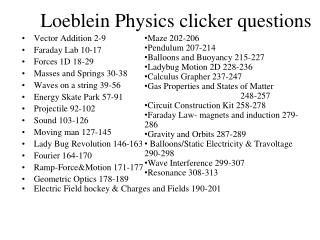 Loeblein Physics clicker questions