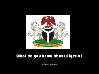What do you know about Nigeria? by Nosimot Adegbite