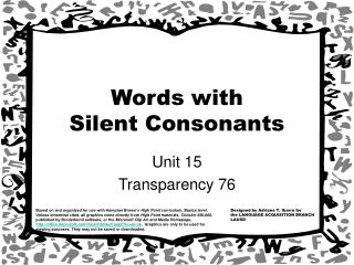 Words with  Silent Consonants