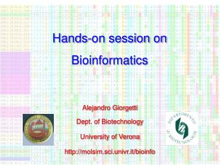 Hands-on session on Bioinformatics