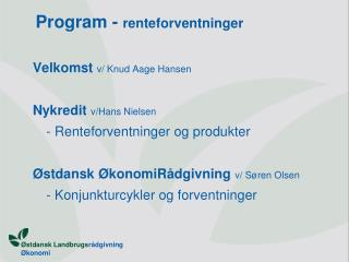 Program -  renteforventninger