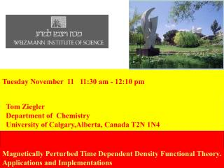 Tom Ziegler   Department of  Chemistry  University of Calgary,Alberta, Canada T2N 1N4