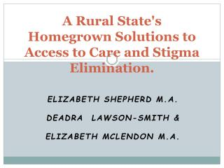 A Rural State's Homegrown Solutions to Access to Care and Stigma Elimination.