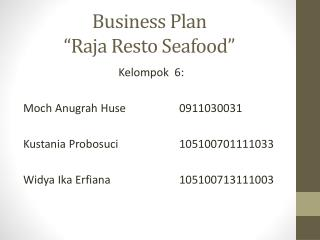 "Business Plan  ""Raja Resto Seafood"""