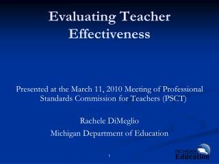 Evaluating Teacher Effectiveness
