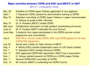 Major activities between CERN and KEK (and MEXT) in 2007 2007.12.7   summarized by T. Kondo