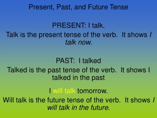 Present, Past, and Future Tense PRESENT: I talk.