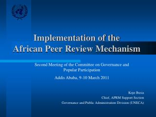 Implementation of the  African Peer Review Mechanism
