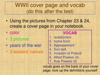 WWII cover page and vocab (do this after the test)