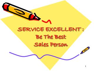 SERVICE EXCELLENT : Be The Best Sales Person